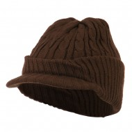 Twist Knitted Cuff Beanie with Visor - Brown