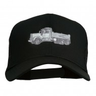 Truck Embroidered Mesh Back Twill Snapback Cap - Black