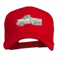 Truck Embroidered Mesh Back Twill Snapback Cap - Red