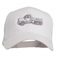 Truck Embroidered Mesh Back Twill Snapback Cap - White