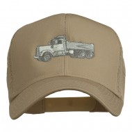 Truck Embroidered Mesh Back Twill Snapback Cap - Khaki