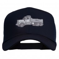 Truck Embroidered Mesh Back Twill Snapback Cap - Navy