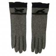 Women's Texting Lace and Bow Glove - Grey
