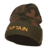Captain Embroidered Camo Long Beanie - Green