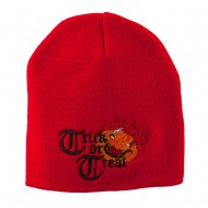 Trick or Treat Jack o Lantern Embroidered Short Beanie - Red
