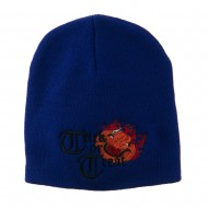 Trick or Treat Jack o Lantern Embroidered Short Beanie - Royal