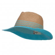 Two Tone Panama Hat - Blue
