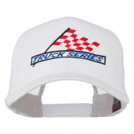 Truck Series Racing Flag Embroidered Mesh Back Cap - White