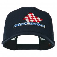 Truck Series Racing Flag Embroidered Mesh Back Cap - Navy