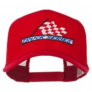 Truck Series Racing Flag Embroidered Mesh Back Cap - Red