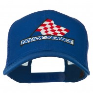 Truck Series Racing Flag Embroidered Mesh Back Cap - Royal