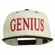 Genius Embroidered Two Toned Snapback Cap - Natural Black
