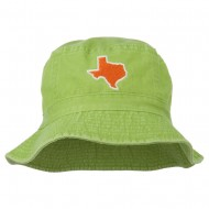 Texas State Map Embroidered Bucket Hat - Apple Green