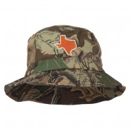Texas State Map Embroidered Bucket Hat - Leaf Camo