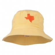 Texas State Map Embroidered Bucket Hat - Yellow
