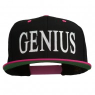 Genius Embroidered Two Toned Snapback Cap - Black Pink