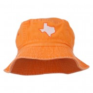 Texas State Map Embroidered Bucket Hat - Orange
