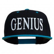 Genius Embroidered Two Toned Snapback Cap - Black Teal