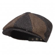 Men's Two Tone Wool 8 Panel Newsboy Hat - Grey Brown