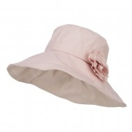 Checked Flower Accent Crushable Hat - Pink