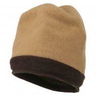 Two Tone Wool Beanie Cap - Camel