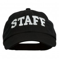 Staff Letter Embroidered Low Profile Washed Cap - Black