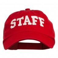 Staff Letter Embroidered Low Profile Washed Cap - Red