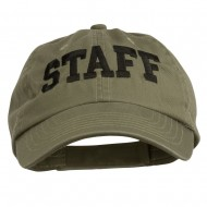 Staff Letter Embroidered Low Profile Washed Cap - Olive