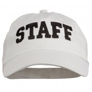 Staff Letter Embroidered Low Profile Washed Cap - White