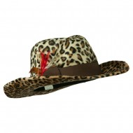 Two Tone Woman's Cowboy Feather Hat - Cheetah