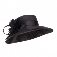 Flower Accent Fashion Wide Brim Hat - Black