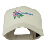 USA State Connecticut Flower Embroidered Low Profile Cotton Cap - Stone