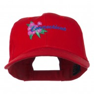 USA State Connecticut Flower Embroidered Low Profile Cotton Cap - Red