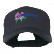 USA State Connecticut Flower Embroidered Low Profile Cotton Cap - Navy