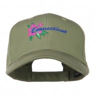 USA State Connecticut Flower Embroidered Low Profile Cotton Cap - Olive
