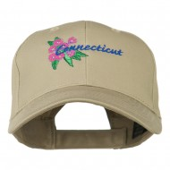 USA State Connecticut Flower Embroidered Low Profile Cotton Cap - Khaki