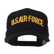 Military Related Text Embroidered Patched Mesh Cap - Air Force