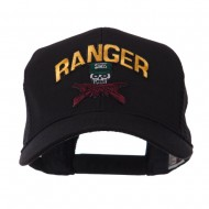 Military Related Text Embroidered Patched Mesh Cap - Ranger