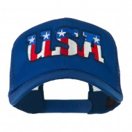 USA American Flat Letters Embroidered Cap - Royal