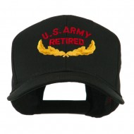 US Army Retired Emblem Embroidered Cap - Black