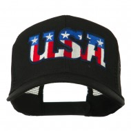 USA American Flat Letters Embroidered Cap - Black