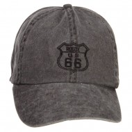 US Route 66 Embroidered Big Washed Cap - Black