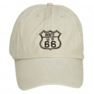 US Route 66 Embroidered Big Washed Cap - Putty