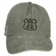 US Route 66 Embroidered Big Washed Cap - Olive