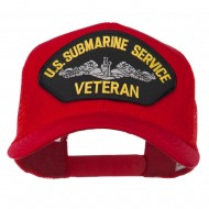 US Submarine Service Veteran Patched Mesh Back Cap - Red