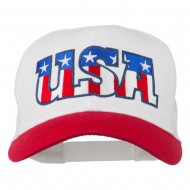 USA Letters Embroidered Mesh Cap - Red White