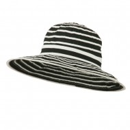 UPF 40+ Striped Crushable Sun Hat - Black White