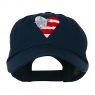 US Flag inside Heart Embroidered Cap - Navy