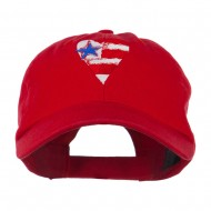US Flag inside Heart Embroidered Cap - Red
