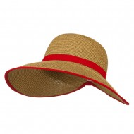 UPF 50+ Gardening Hat with Ribbon Trim Accent - Red